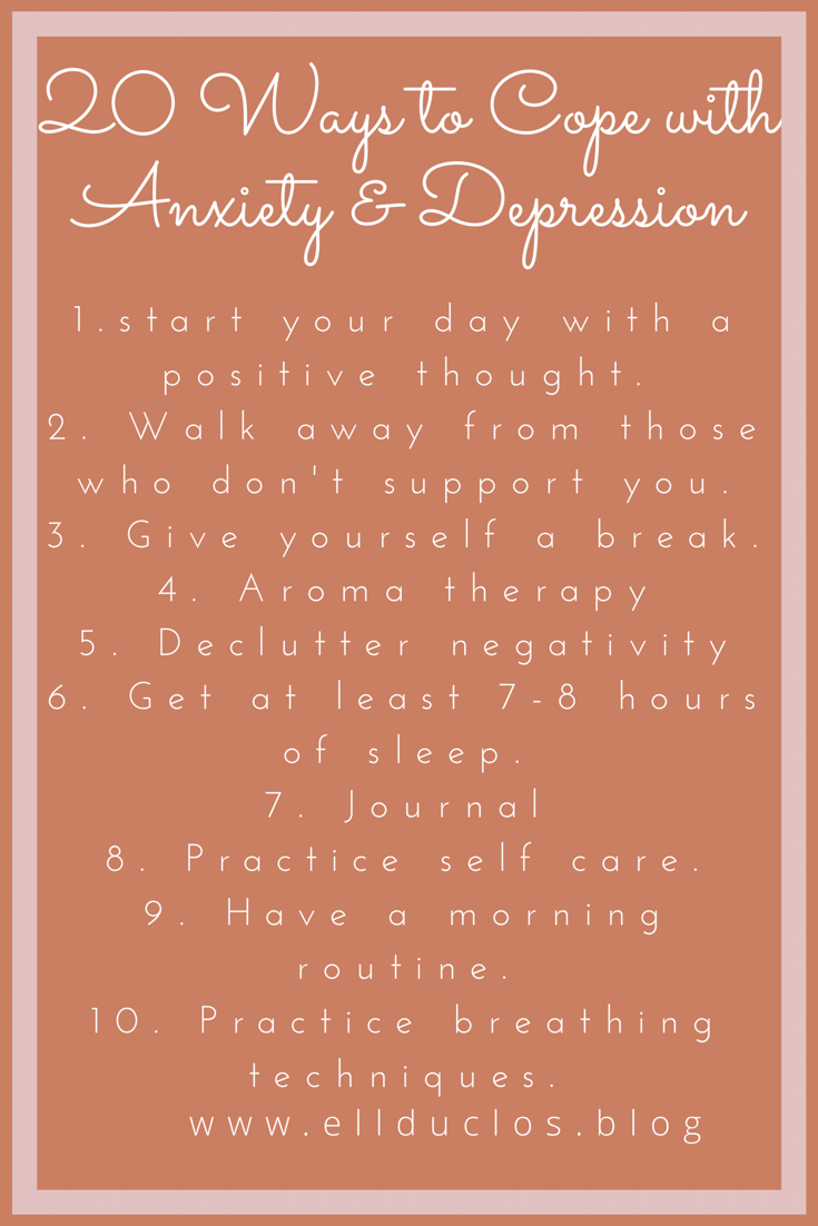 20 ways to manage your anxiety and depression