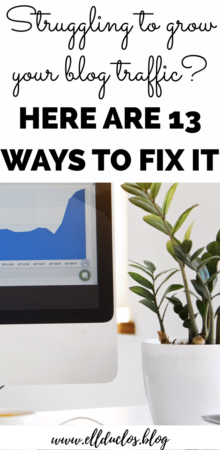 If you have been noticing your blog traffic is stuck and won't increase, try out 13 of my favorite ways to grow my blog traffic!